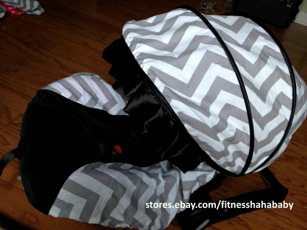 Baby Boy Gray Black Infant Car Seat Cover Canopy Cover Fit