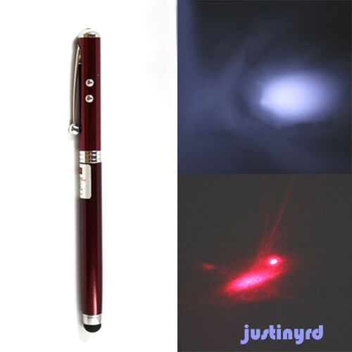 4in1 led torch laser pointer touch screen stylus ball pen for Galaxy wand laser pointer