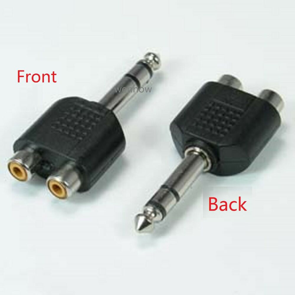 1 4 inch stereo male to 2 rca female y adapter plug ebay. Black Bedroom Furniture Sets. Home Design Ideas