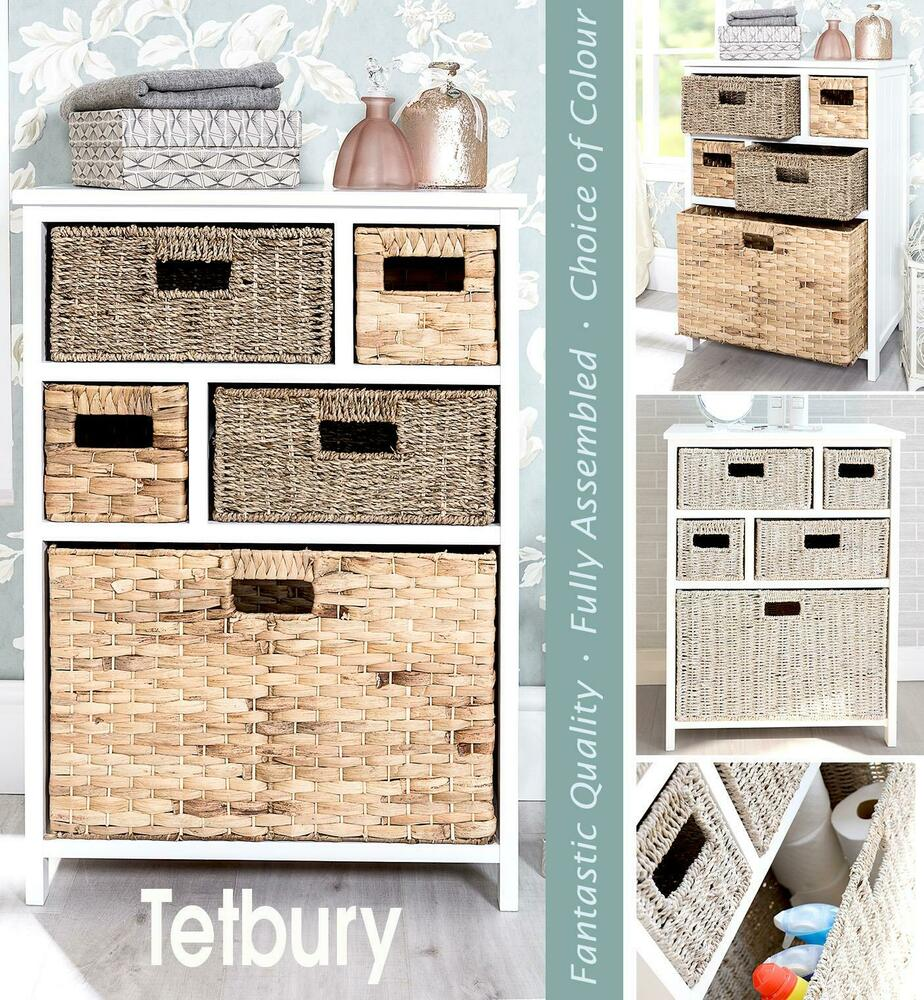 TETBURY White Storage Unit Wicker Baskets Bathroom Storage Hallway Storag