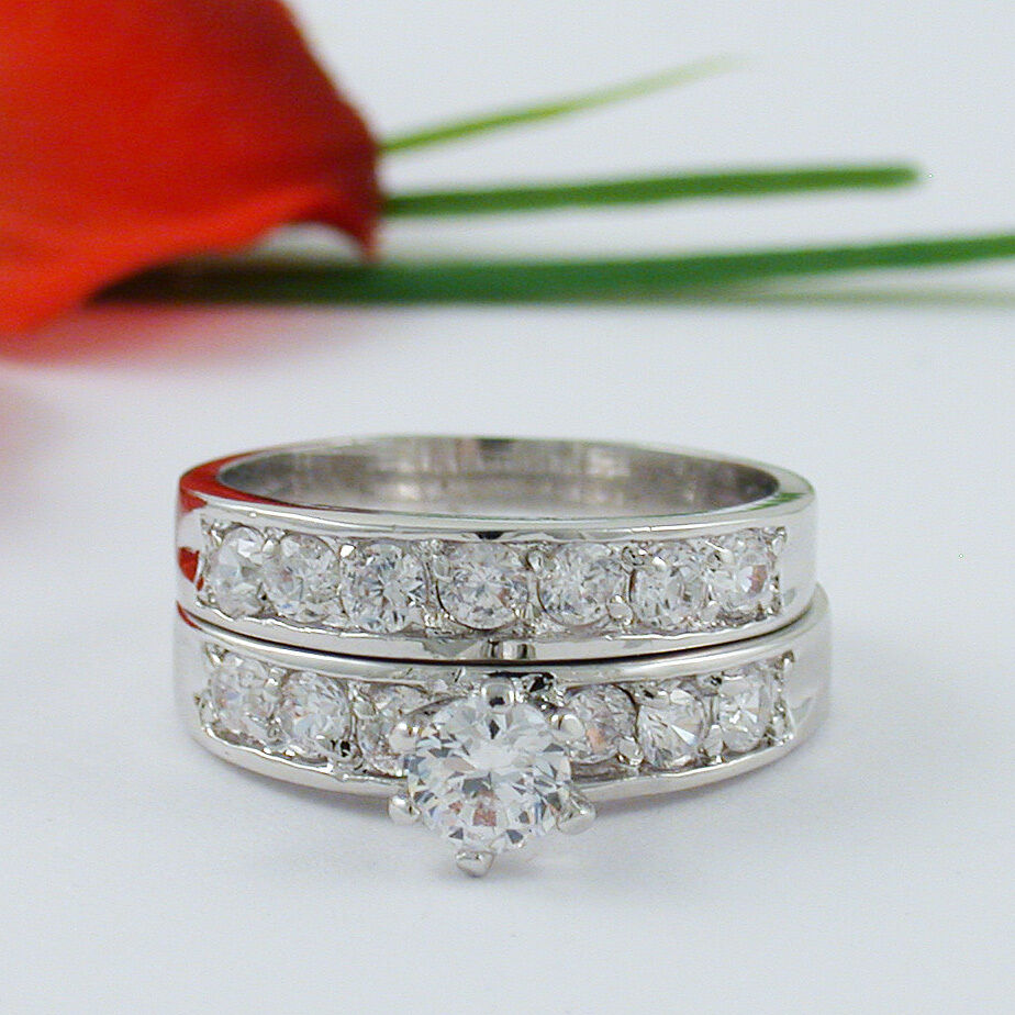 2 CARAT ROUND WHITE GOLD EP WEDDING ENGAGEMENT RING SET SIZE 4 5 6 7 8 9 10 1