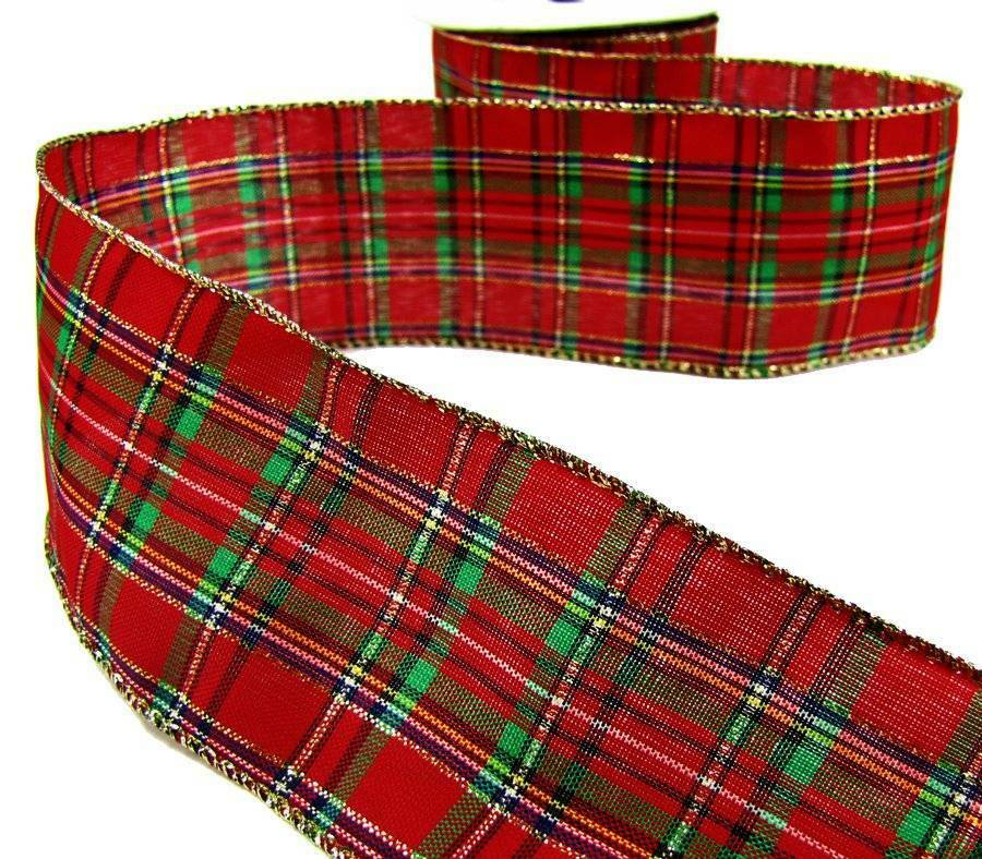 5 yds christmas dark red green gold plaid wired ribbon 2 1. Black Bedroom Furniture Sets. Home Design Ideas