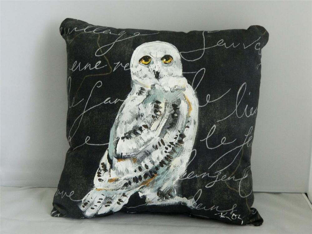 Hand Painted Snowy Owl Bird Decorative Black Pillow