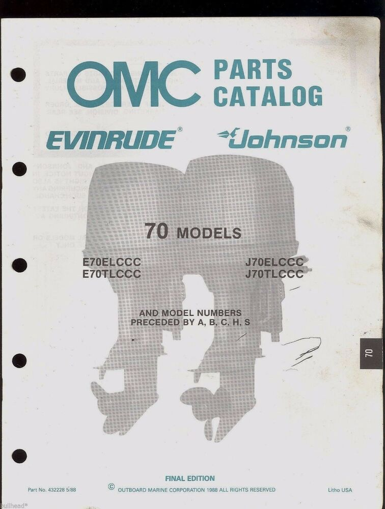 1988 Omc    Johnson    Evinrude 70 Hp Outboard Parts Manual