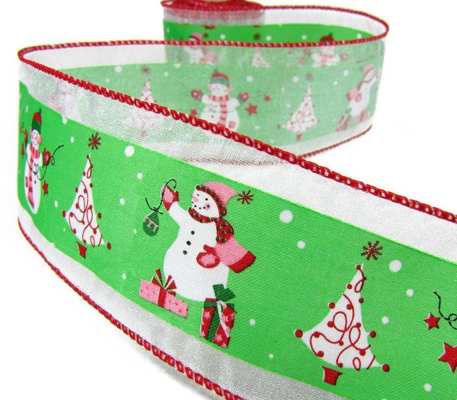 Christmas tree decorating with wire ribbon : Yd christmas snowman decorating tree wired ribbon
