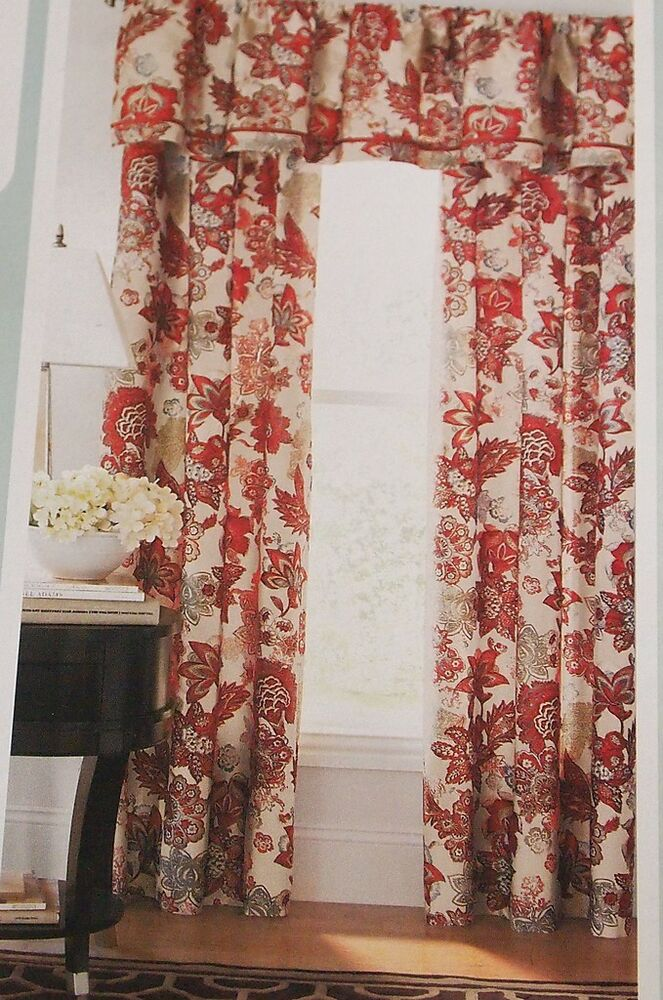 Cindy Crawford Flora Rouge Barn Red Floral Panels Or Valance Choose Ebay