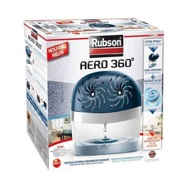 ABSORBEUR HUMIDITE AERO 360° RUBSON 40 M² + 2 RECHARGES EVITE MOISISSURES ODEURS