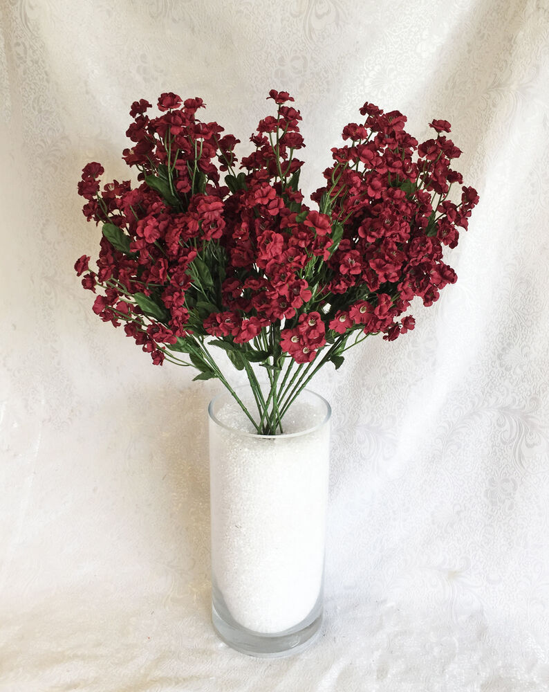 12 Baby S Breath Burgundy Wine Gypsophila Silk Wedding