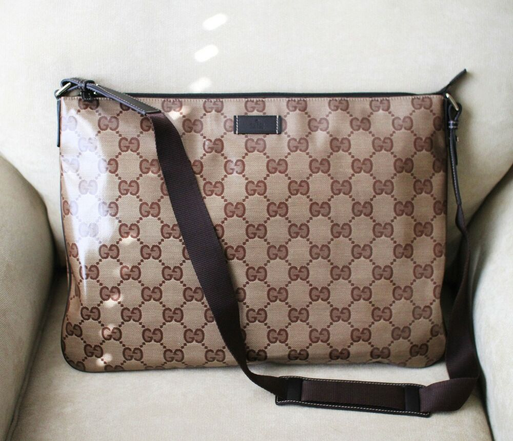 New Authentic Gucci Crystal Gg Messenger Bag Laptop Sling Brown 278301 9643 Ebay