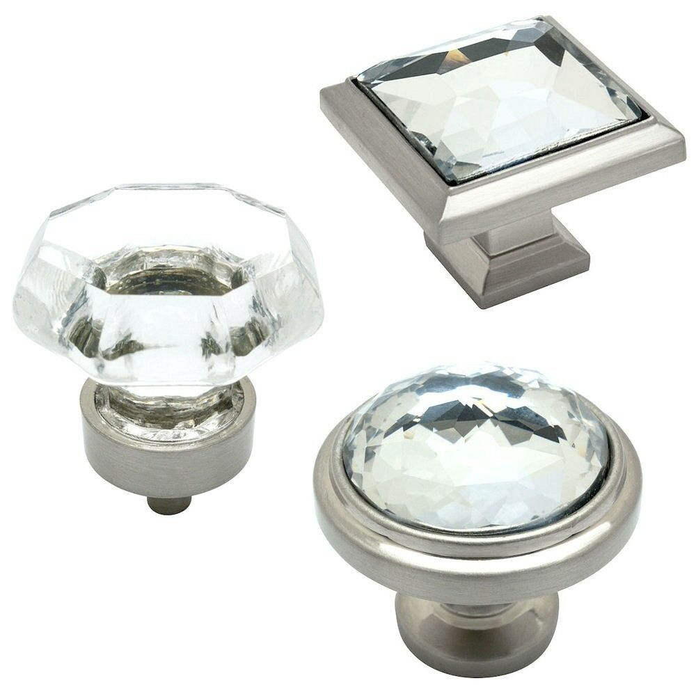 Cosmas Satin Nickel & Clear Glass Cabinet Hardware Knobs & Hinges