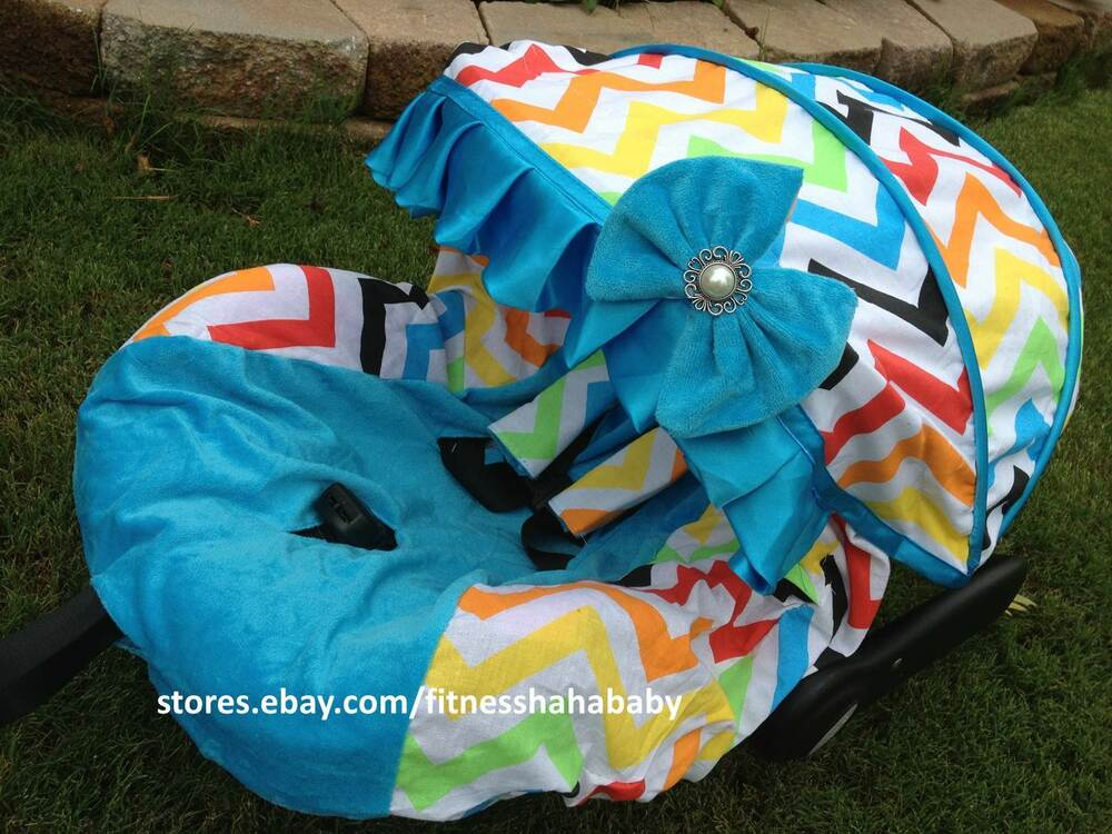 Baby Girl Infant Car Seats: Baby Rainbow/blue Infant Car Seat Cover Canopy Cover Fit