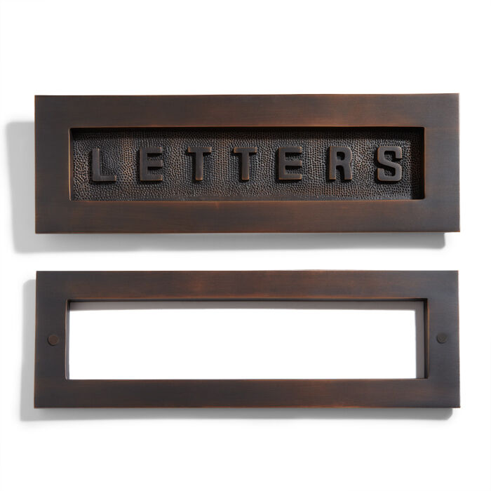 Contemporary solid brass quotlettersquot mail slot oil rubbed for Oil rubbed bronze letters