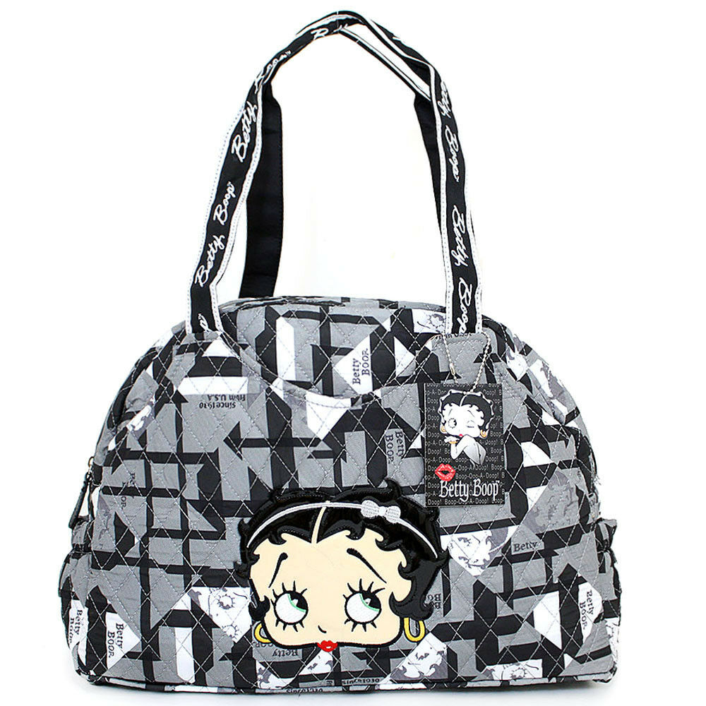 betty boop quilted diaper bag hand bag with pad black. Black Bedroom Furniture Sets. Home Design Ideas