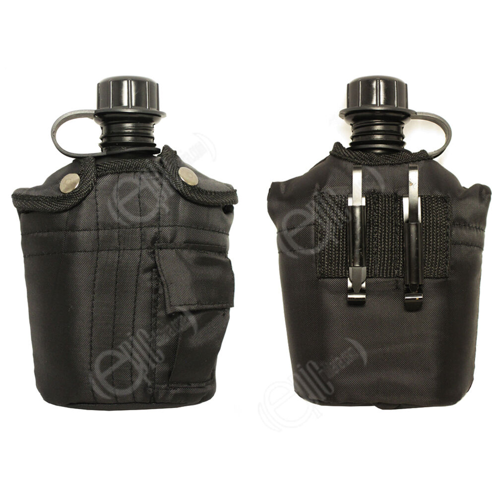 ... WATER BOTTLE - Screw Top Military Canteen with Cover and Belt Clip
