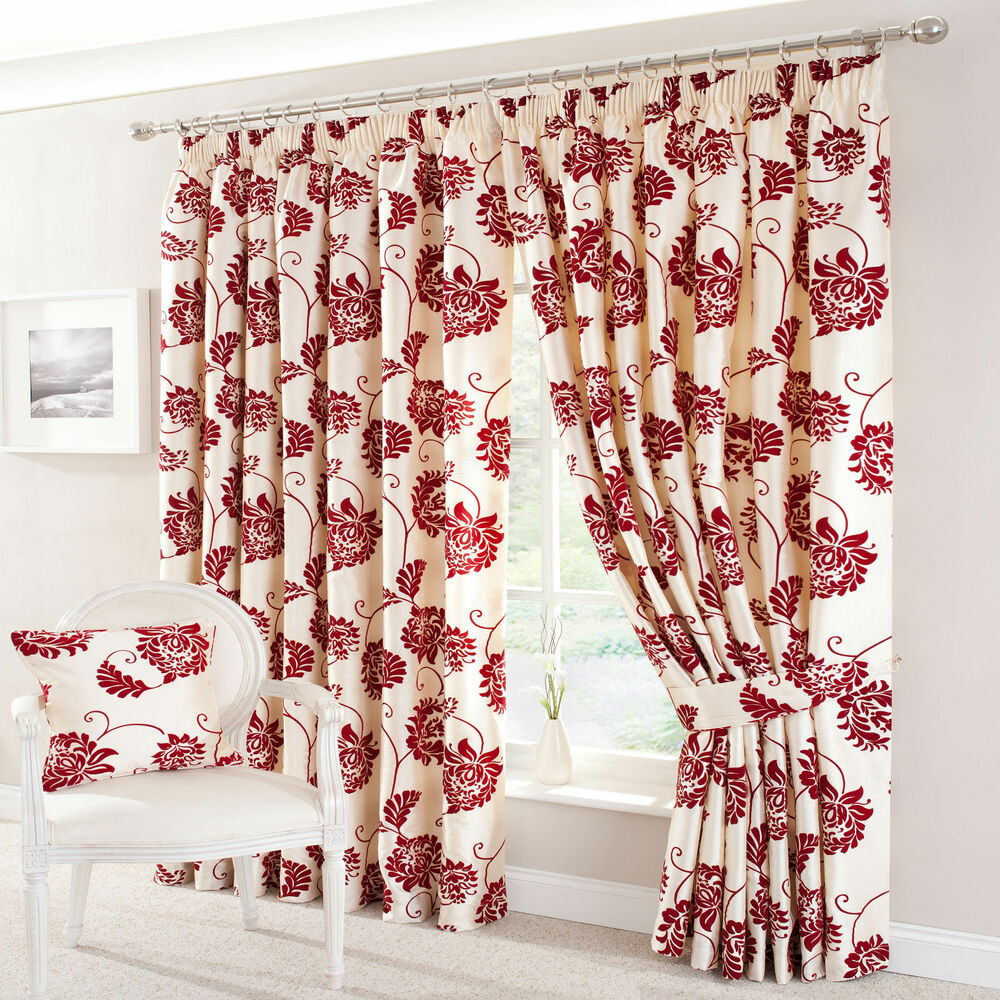 Pair velvet silk effect damask lined curtains red ivory Beige curtains