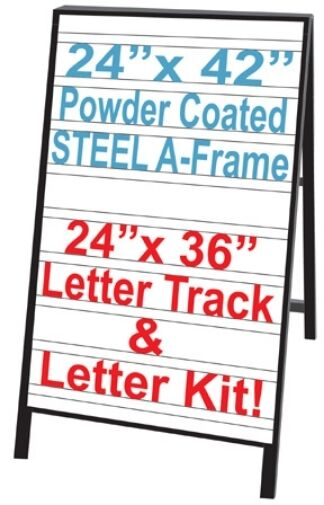 Sidewalk a frame sign with letter track insert panels for Sign letter track kit