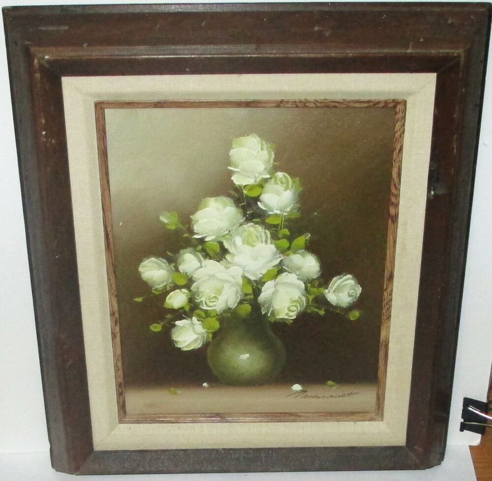 R pasanault small original oil on canvas white floral vase for White canvas painting