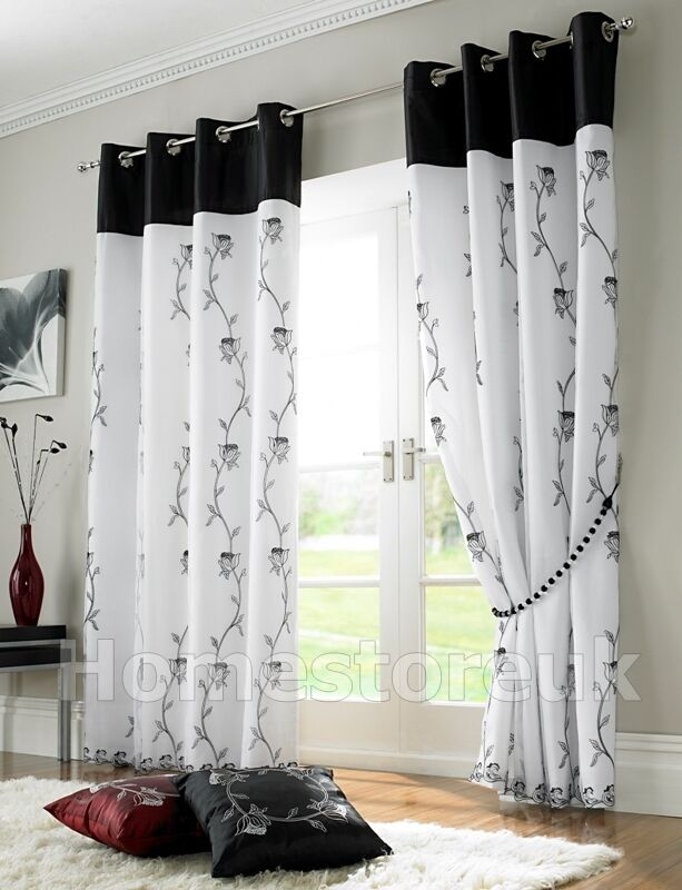 Tahiti black white lined curtain ready made eyelet ring top net voile