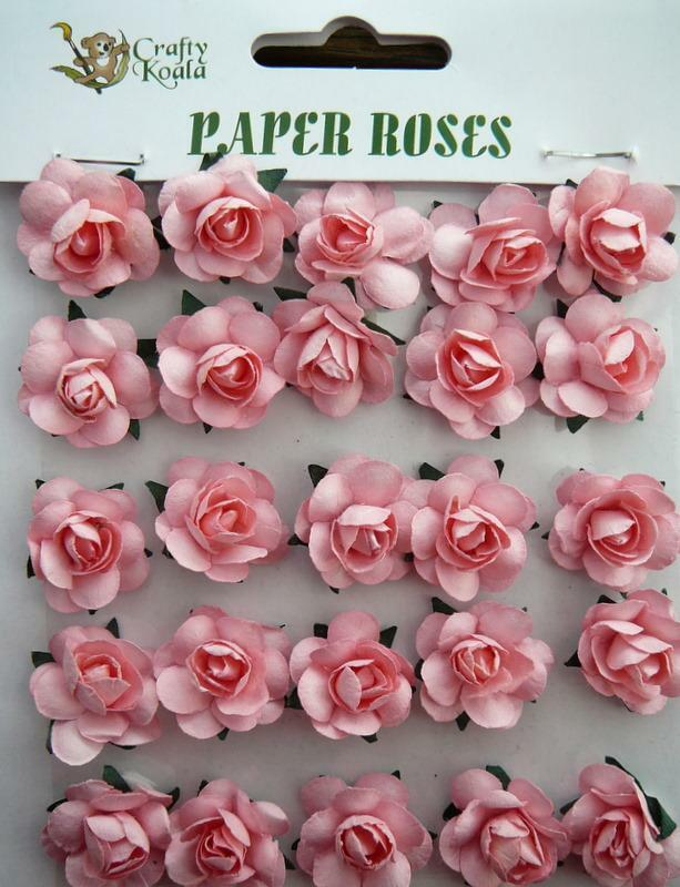Adhesive pink paper roses flowers card making new ebay for Rose adesive