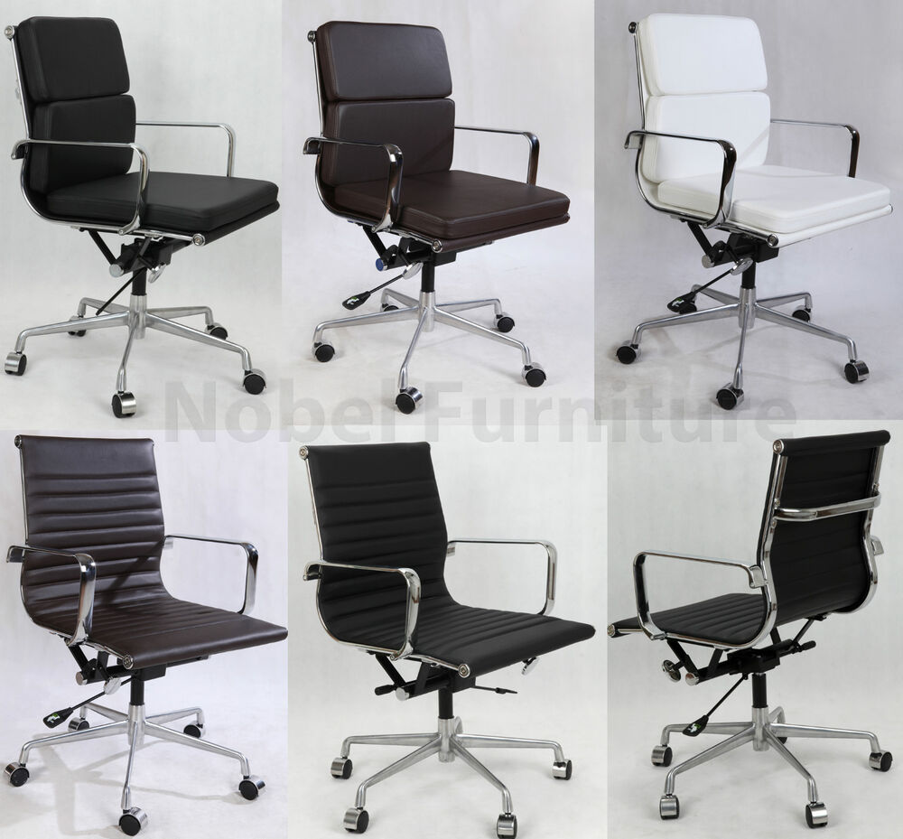 Leather Soft Pad Ribbed Computer Executive Office Chair Ebay