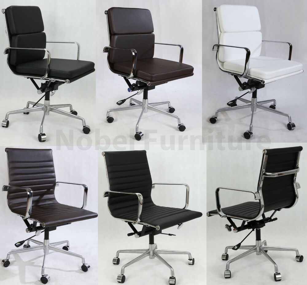 Leather soft pad ribbed computer executive office chair ebay for Eames chair replica uk