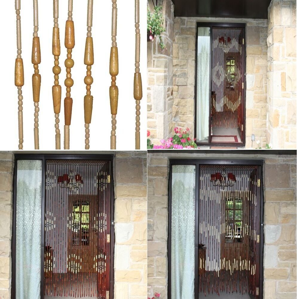 6ft Wooden Bamboo Bead Beaded Curtain Fly Insect Screen Blind For Door Window 89 Ebay