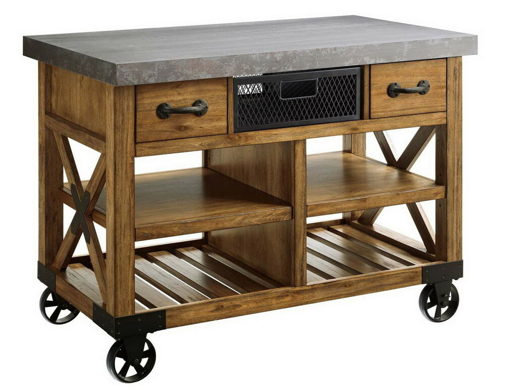 "New Large Wooden Kitchen Island Cart Metal Top 48""x26"
