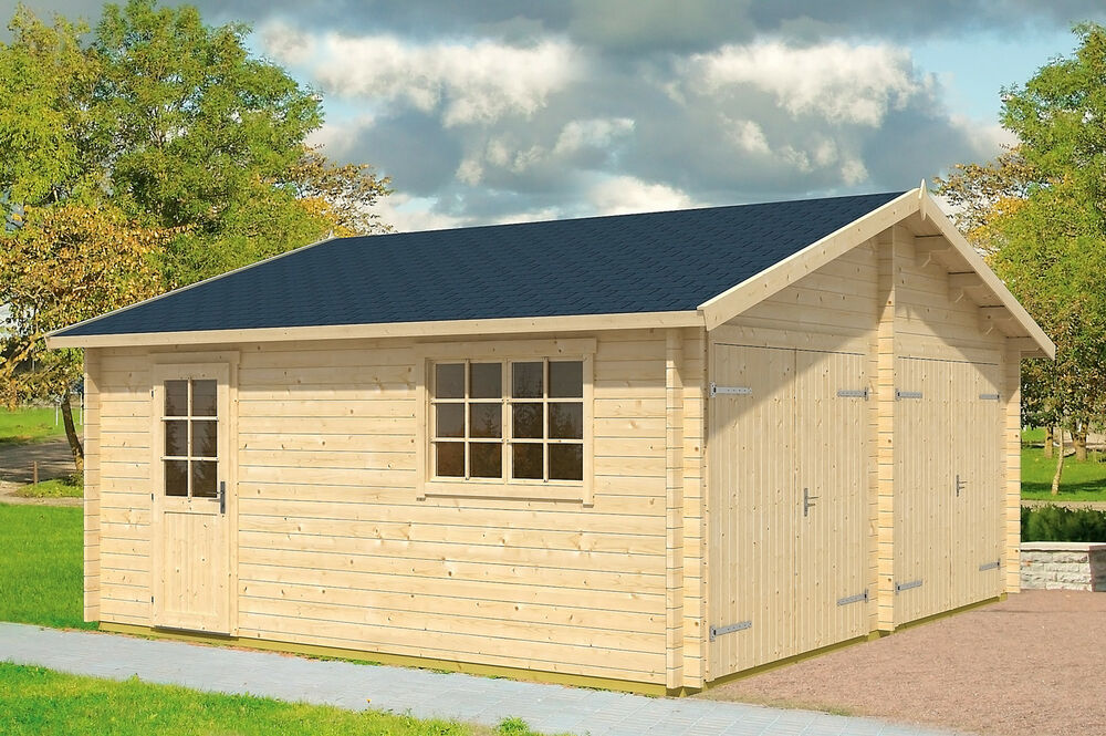 garage falkland holzgarage carport schuppen blockhaus 595x595 cm 44 mm ebay. Black Bedroom Furniture Sets. Home Design Ideas