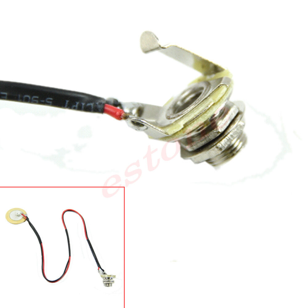 new cigar box guitar parts pre wired piezo amplifier jack acoustic pickup ebay. Black Bedroom Furniture Sets. Home Design Ideas