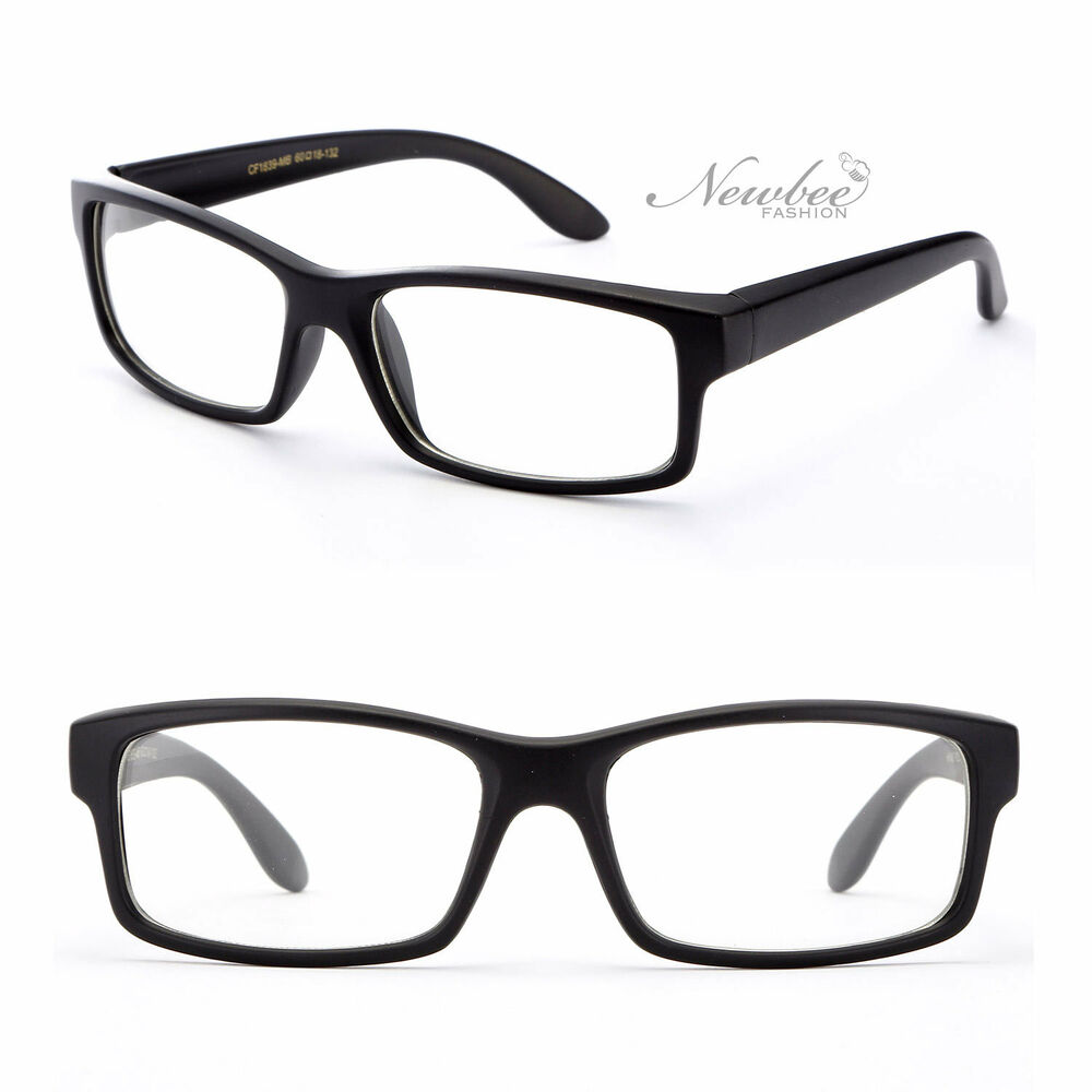 Flat Black Thick Frame Clear Lens Glasses Wid Face Square ...