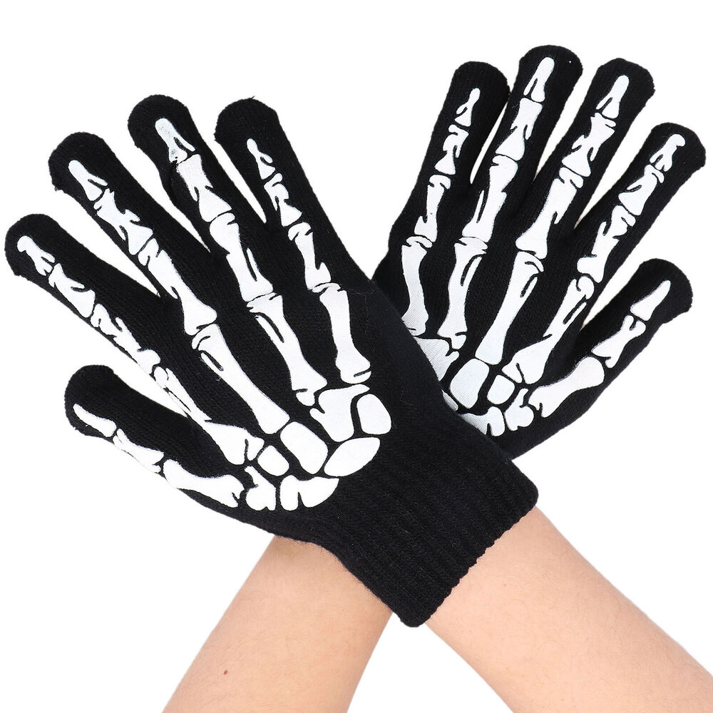 Winter Motorcycle Gloves >> Adult Soft Skeleton Bones hands Men's Women's Skull Hand Reaper Gloves Black | eBay