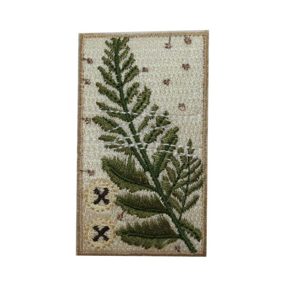 Id green fern badge design leaves iron on embroidered