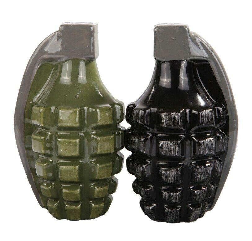 2 Hand Grenades Ceramic Salt And Pepper Shakers Set Unique