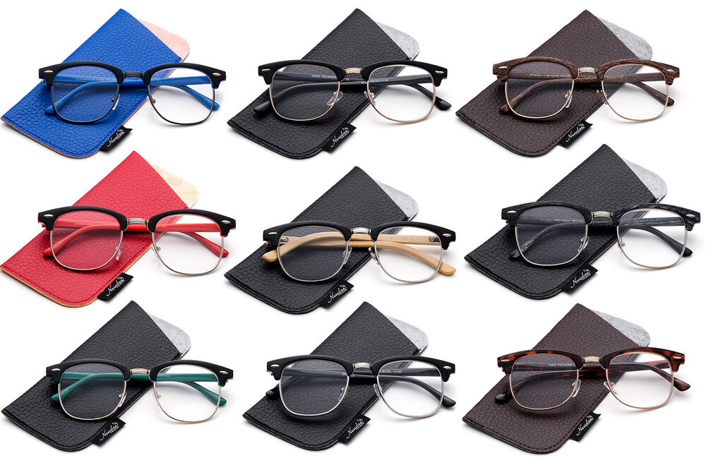 Pics Of Glasses Frame : Vintage Style Nerdy Half Frame Reading Glasses with Metal ...
