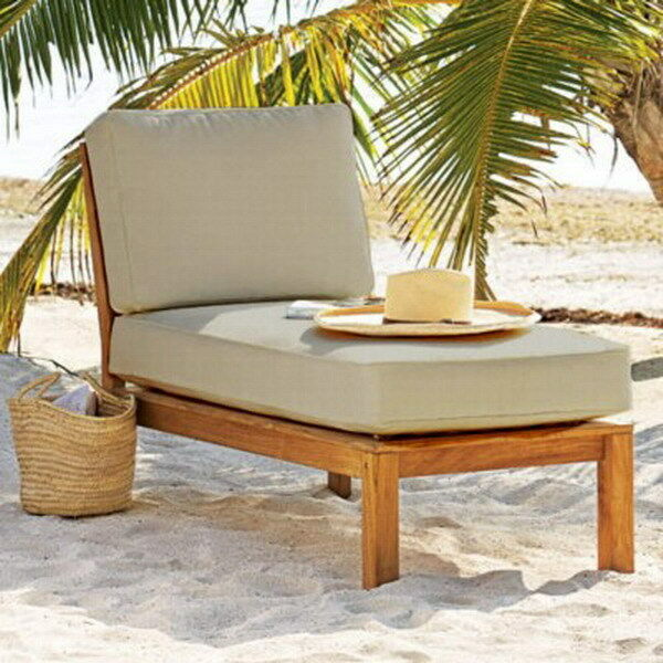 New Teak Wood Outdoor Chaise Lounge Chair Sectional