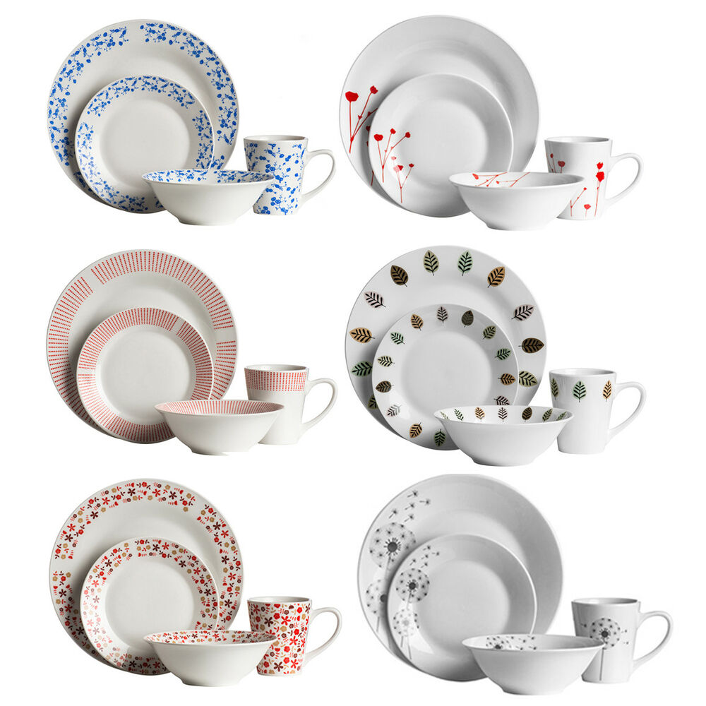 16 Piece Dinner Set Porcelain Stoneware Kitchen Dining