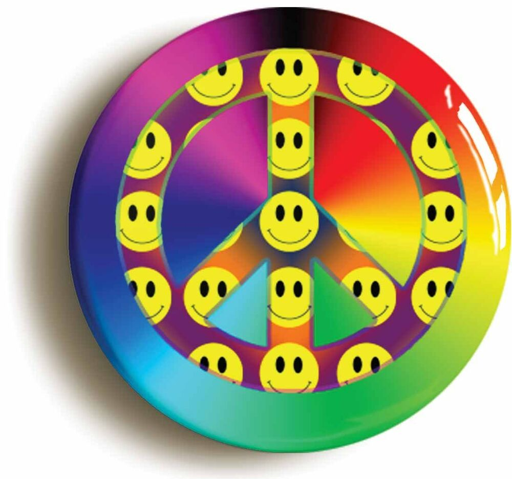 Smiley peace retro badge button pin 1inch 25mm diamt for Acid house raves 1980s