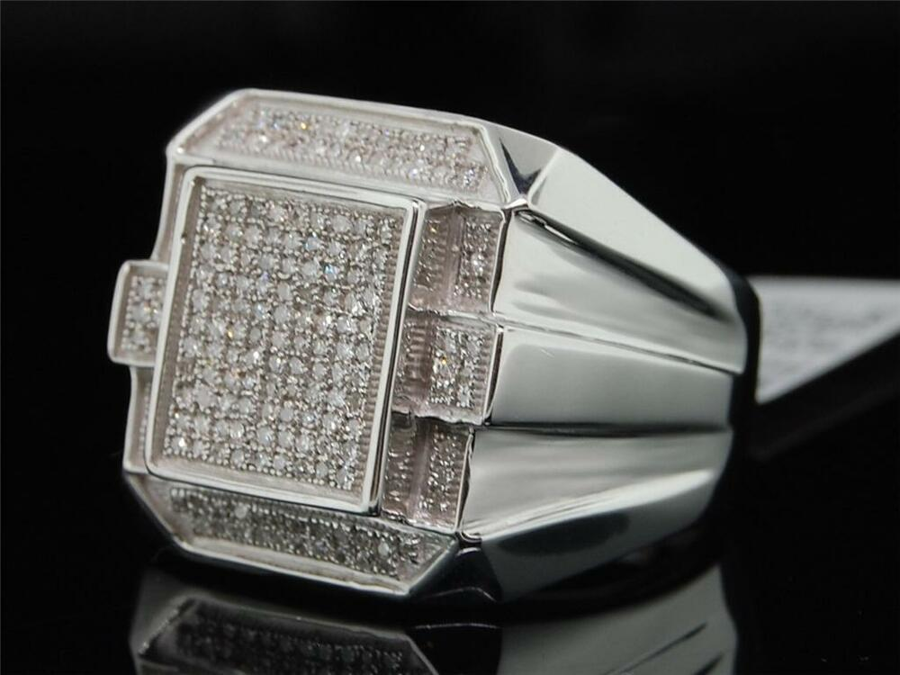 mens 925 sterling silver 50 ct pave diamond pinky ring. Black Bedroom Furniture Sets. Home Design Ideas