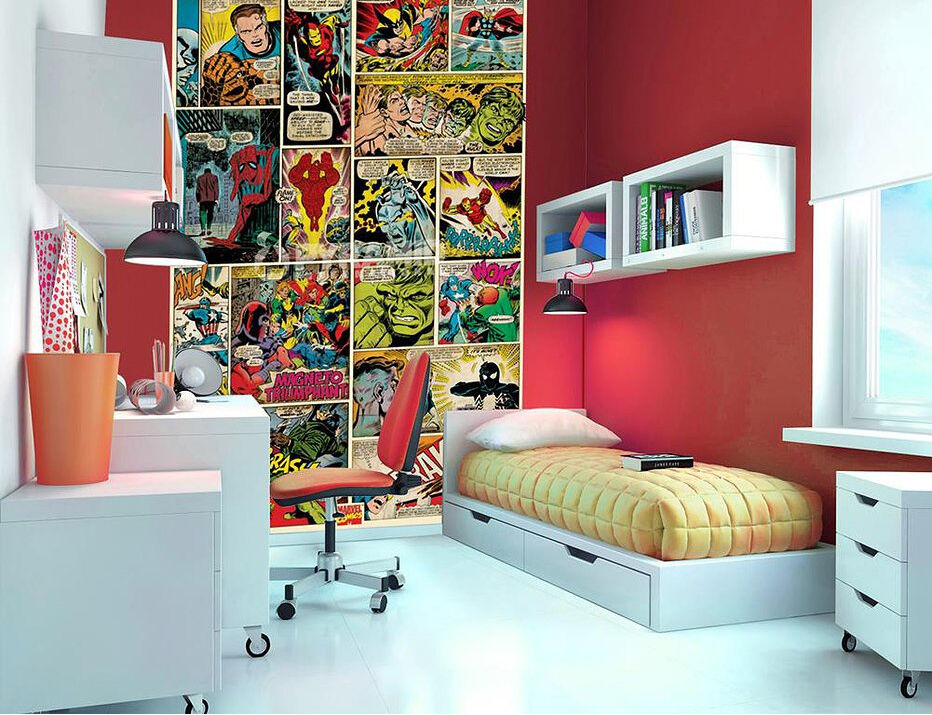 Marvel comic kids fun wallpaper mural photo wall paper for Fun wallpaper for walls