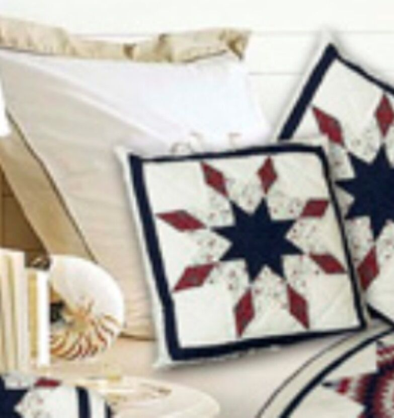Free Throw Pillow Quilt Pattern : LONE STAR PATTERN COTTON FABRIC QUILTED ACCENT THROW PILLOW 16