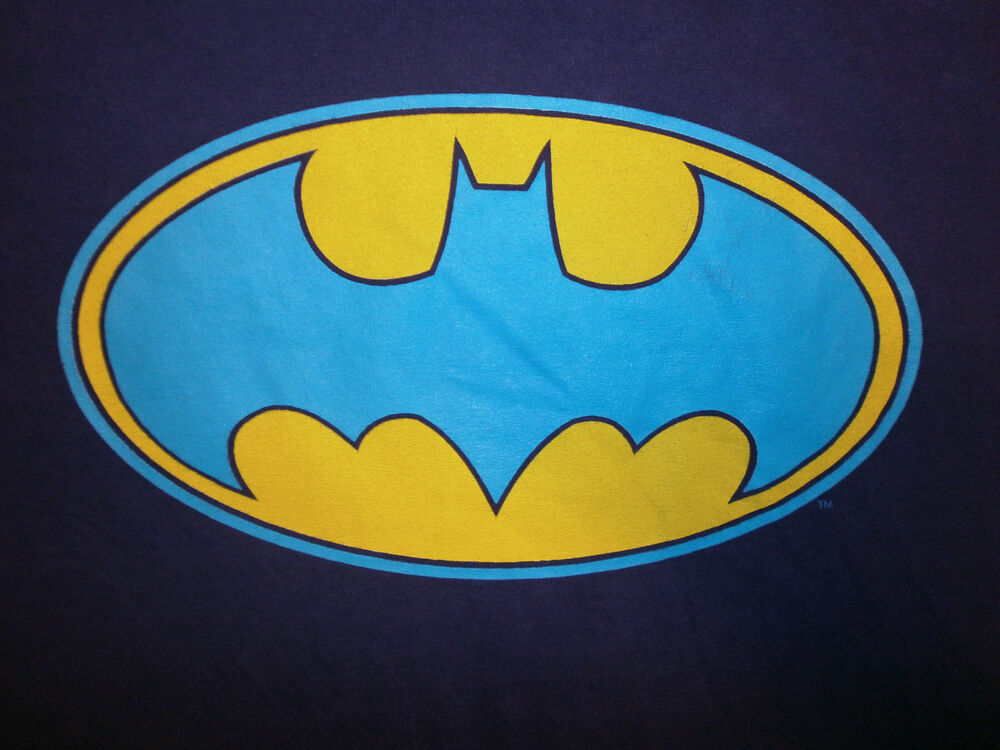 Batman Tshirt Og Old School Vtg Oval Logo Purple With Blue Yellow