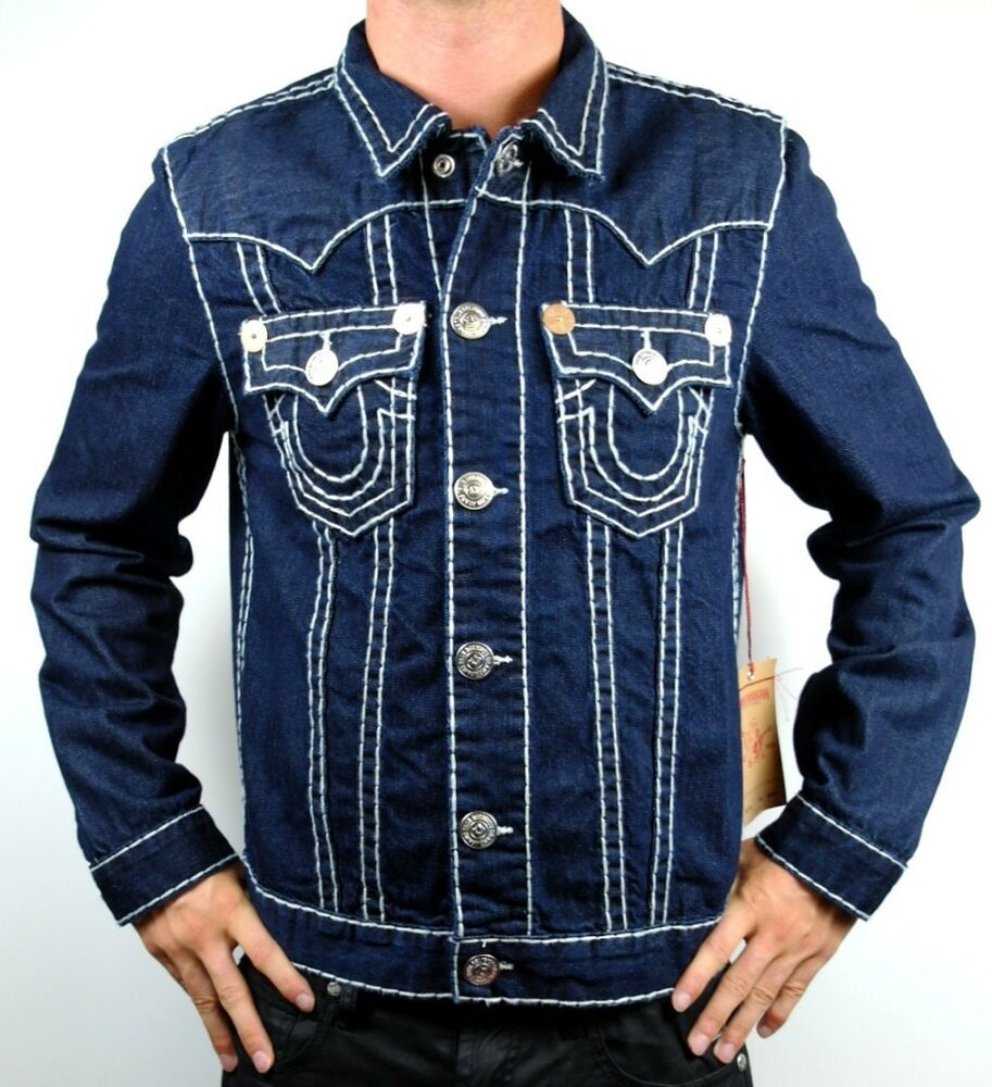new true religion men 39 s premium denim jean jacket buddha. Black Bedroom Furniture Sets. Home Design Ideas