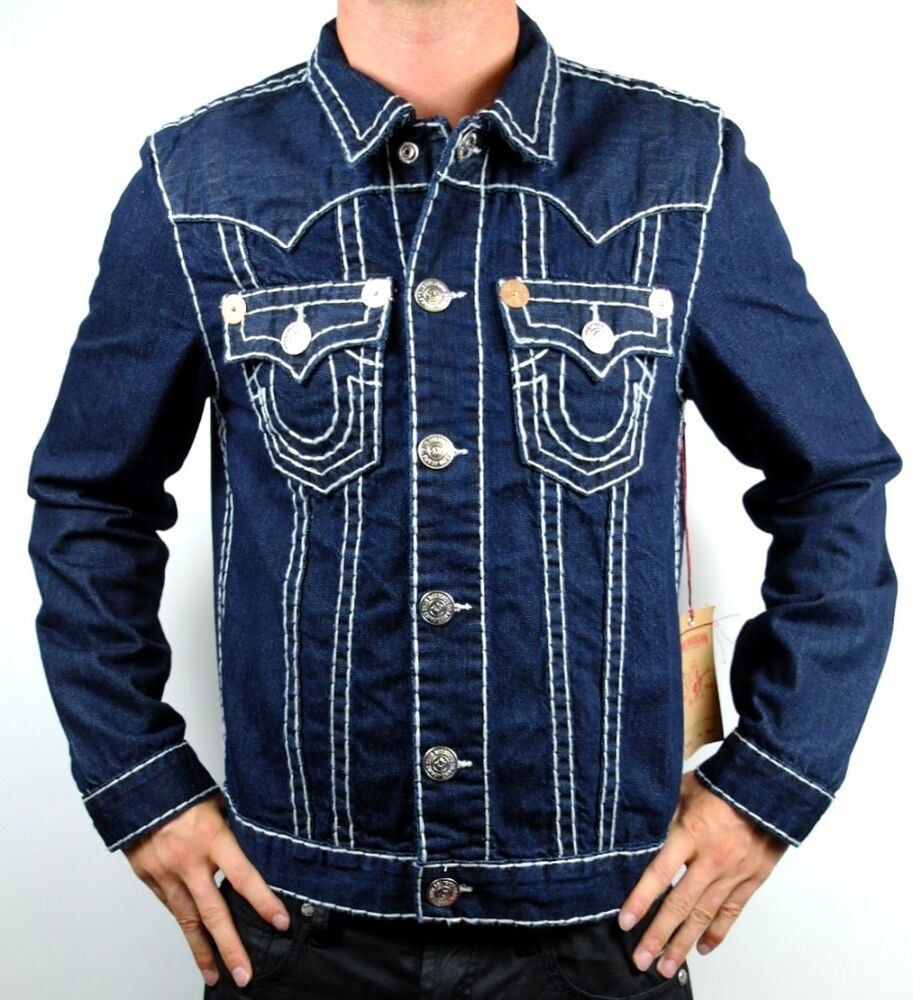 new true religion men 39 s premium denim jean jacket buddha jimmy super t 24900nbt ebay. Black Bedroom Furniture Sets. Home Design Ideas