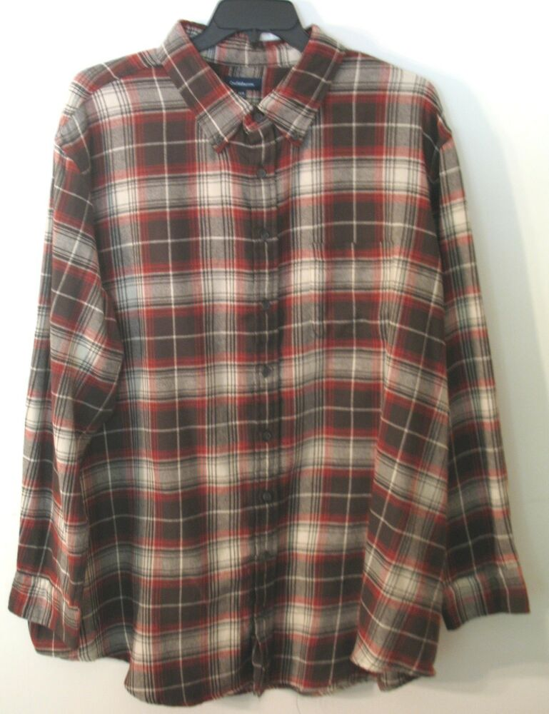 Mens croft barrow l s brown red off white plaid flannel for Red and white plaid shirt mens