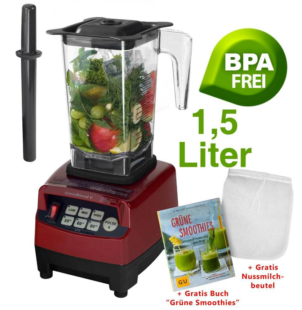 green smoothie maker m kraftvollem 3ps motor 1 5l mixbeh lter bpa frei mixer rot ebay. Black Bedroom Furniture Sets. Home Design Ideas