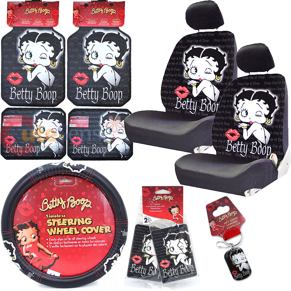 betty boop low back car seat covers accessories set 12 pc set timeless ebay. Black Bedroom Furniture Sets. Home Design Ideas