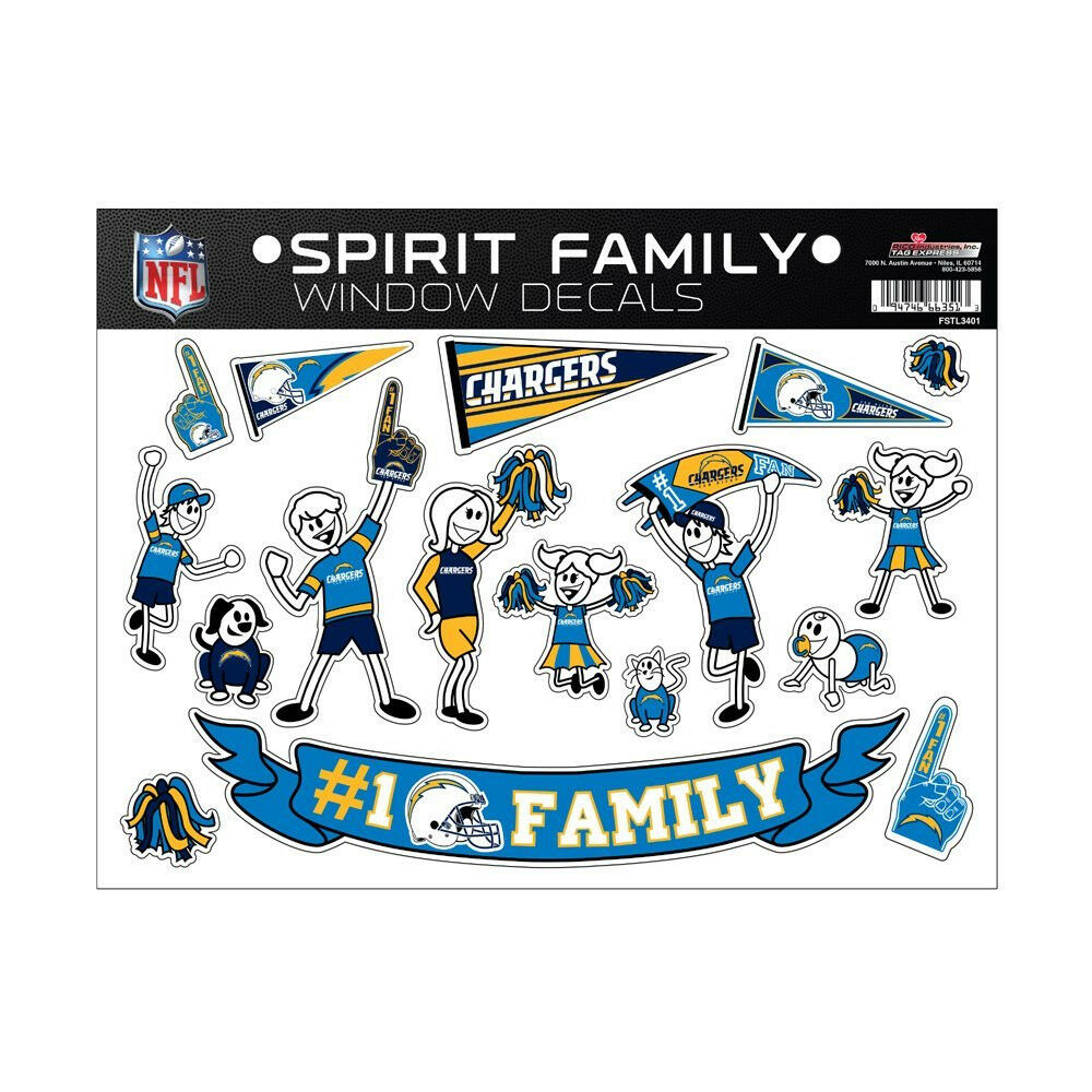 San Diego Chargers Car Decals: San Diego Chargers Family Spirit Window Decals
