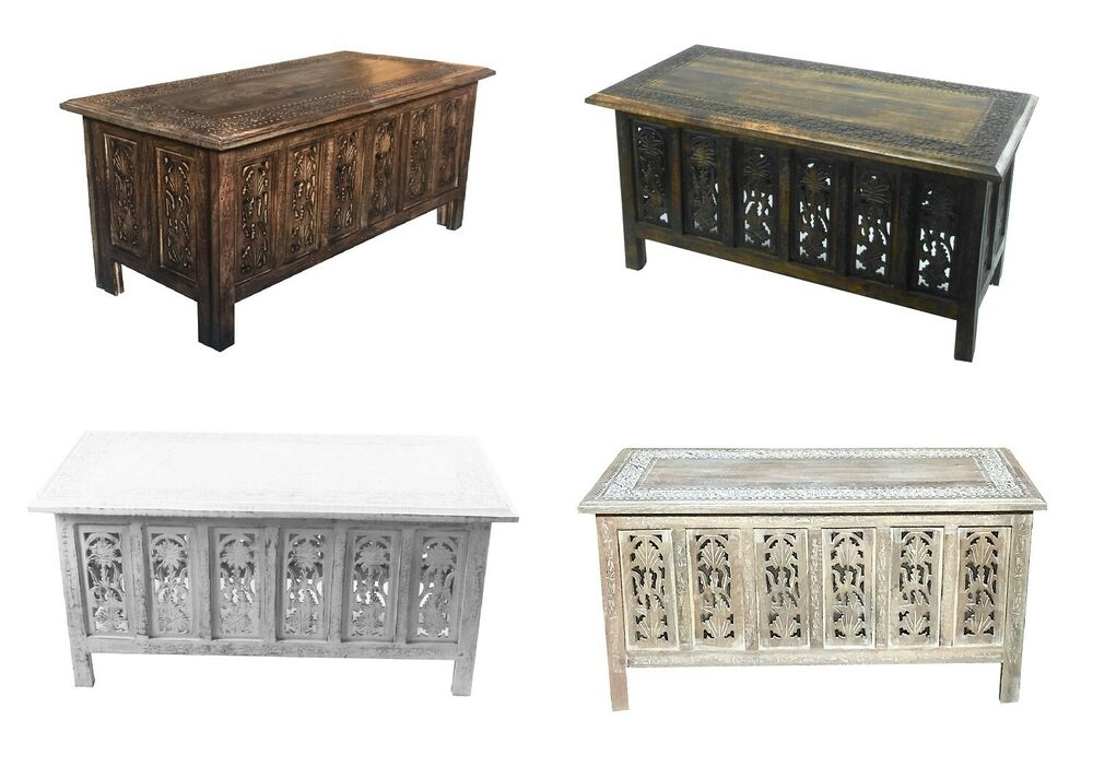 Beautiful Brown White Hand Carved Indian Wooden Coffee Table Side Tables 91x46cm Ebay