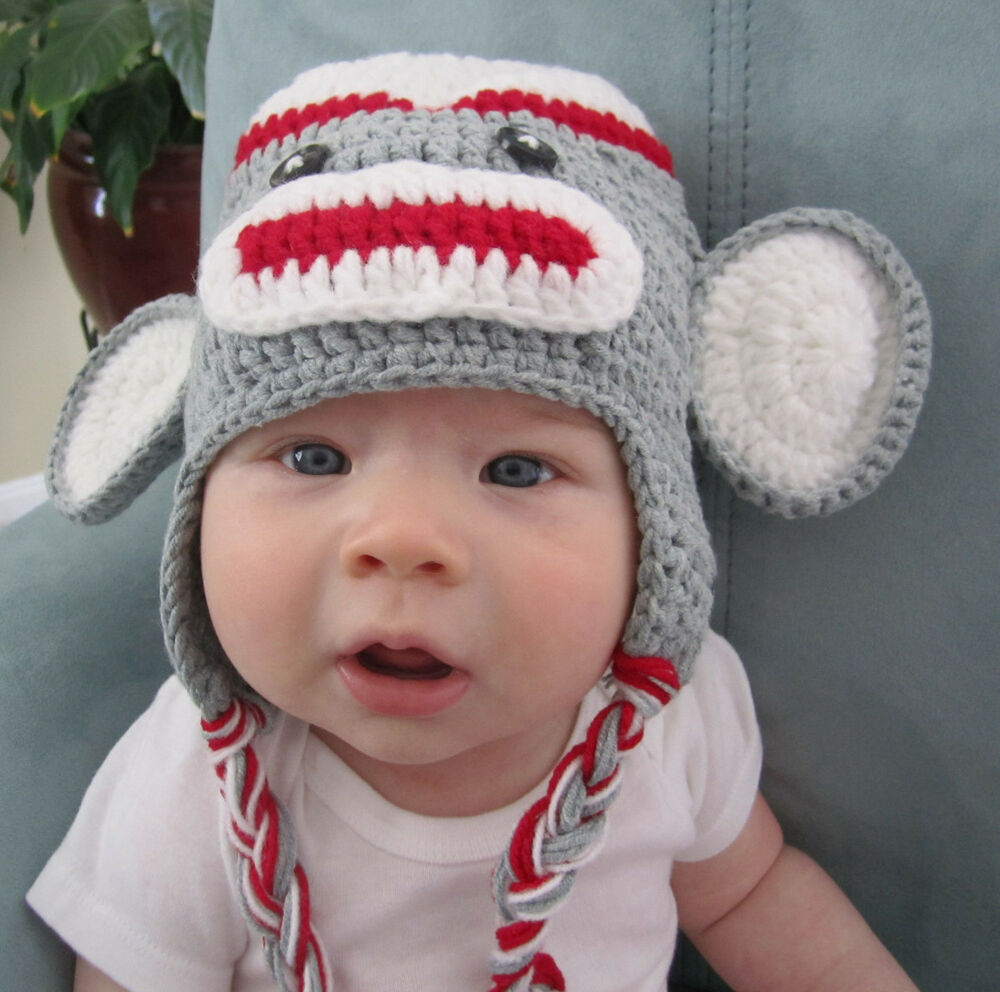 Handmade Crochet Knit Hats Babies Kids Gray White
