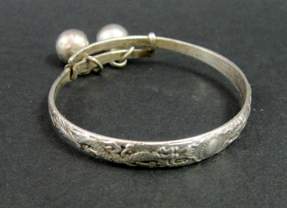 Antique Sterling Silver Chinese Baby Teething Bracelet